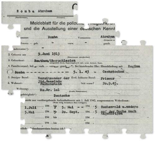 """Ein Dokument mit persönlichen Daten Abraham Bombas. Unter anderem wird als """"Aufenthaltsort"""" angegeben """"Buchenwald u. andere""""."""